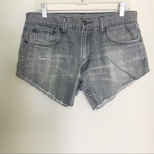 Levi's Grey Denim Cut-Off Distressed Shorts